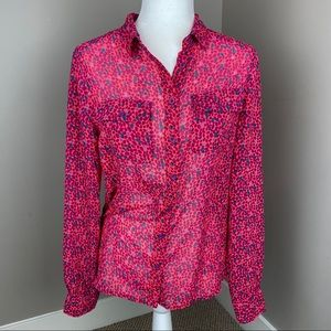 AMERICAN EAGLE OUTFITTERS PINK DOTTED BUTTON UP